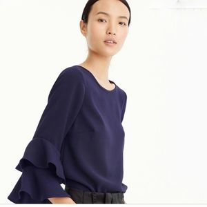 J. Crew Lana Tiered Bell Sleeve Navy Top